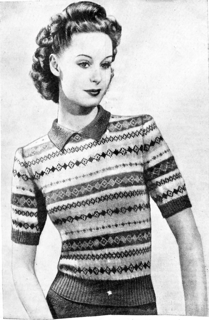 Free Vintage Knitting Pattern Fair Isle 1946