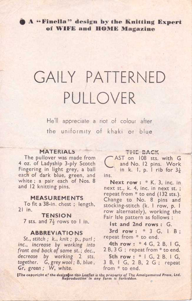 Bestway 1524 free knitting pattern men's 1