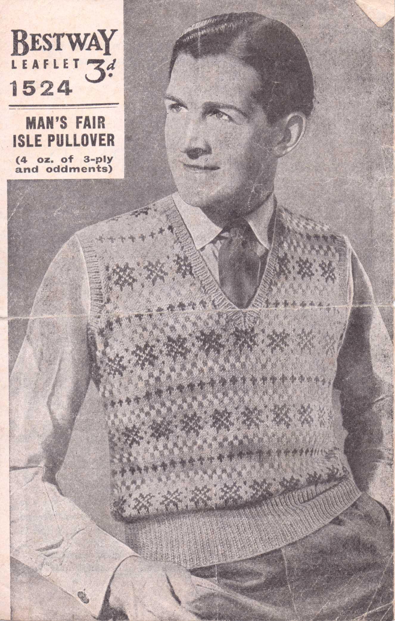 df659a628 ... Fair Isle Pullover Bestway Leaflet 1524. Bestway 1524 free knitting  pattern men s