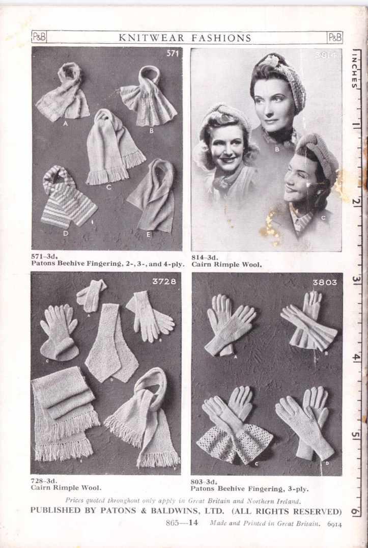 P &B 865 ladies gloves free knitting pattern 5