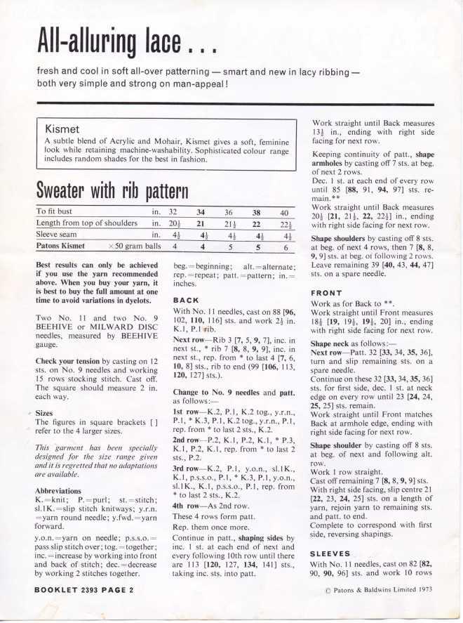 Patons 2393 ladies jumper free knitting pattern 1