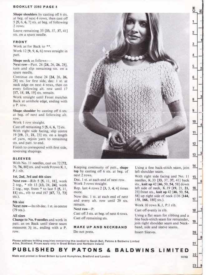 Patons 2393 ladies jumper free knitting pattern 3
