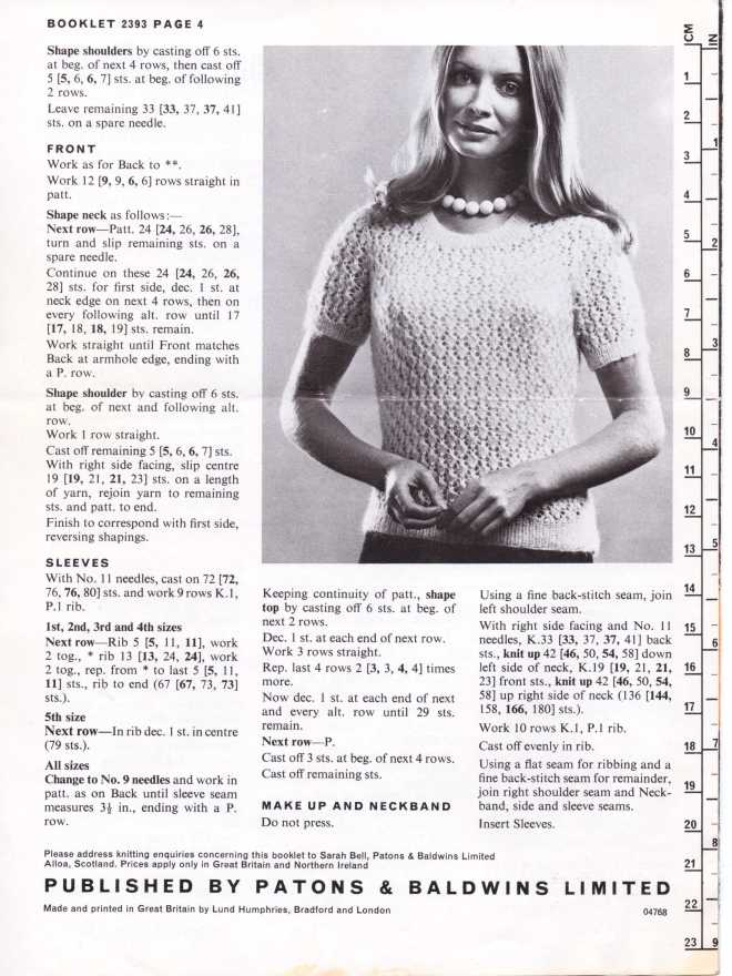 Patons 2393 ladies jumper free knitting pattern 3