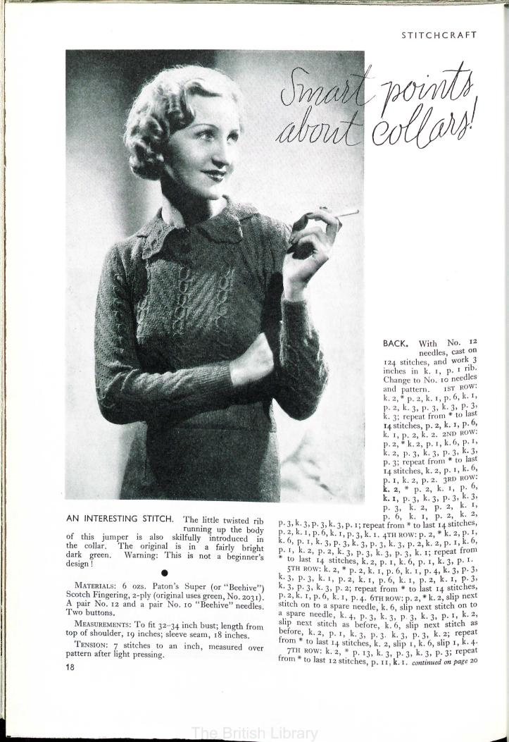 free vintage knitting pattern 30s jumper