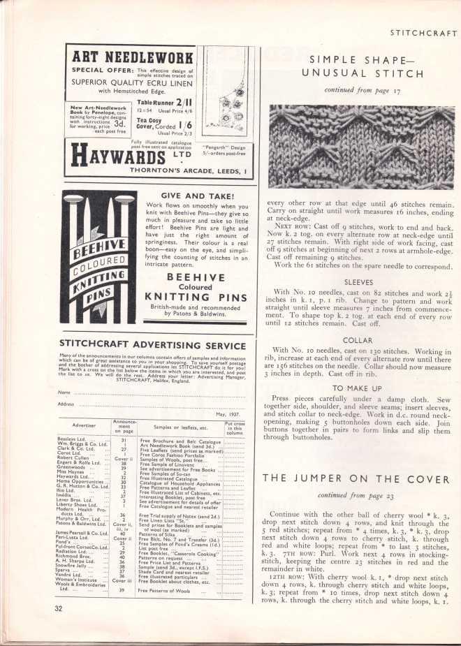 Stitchcraft May 193733
