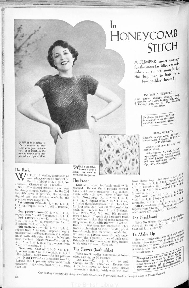 free knitting pattern Honeycomb stitch jumper 1935