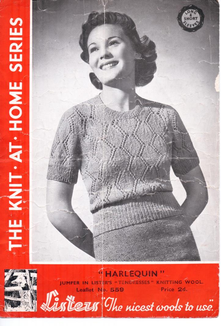 Harlequin free thirties knitting pattern 34-36 inch bust