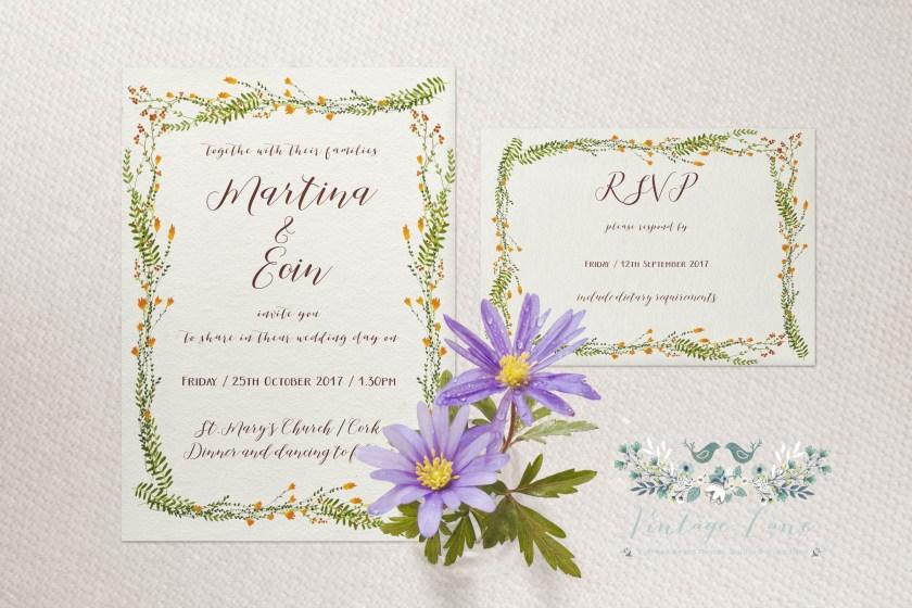 Wildflower Wedding Invitations Personalised Stationery Watercolour Style Cork Ireland