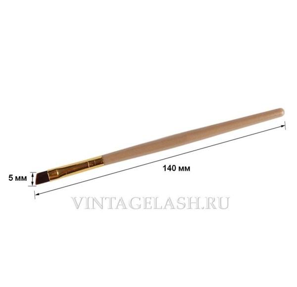 Кисть с косым срезом для бровей золотая 1 шт. 2
