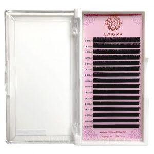 Черные ресницы Enigma Изгиб D+ (один размер) 16 линий