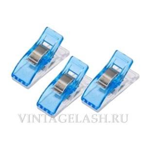 Мини-прищепки для саше голубые (пластик), 3 шт.