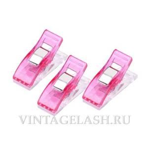 Мини-прищепки для саше розовые (пластик), 3 шт.