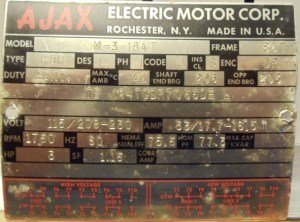 Photo Index  Ajax Electric Motor Corp  M3184T drip proof single phase dual voltage