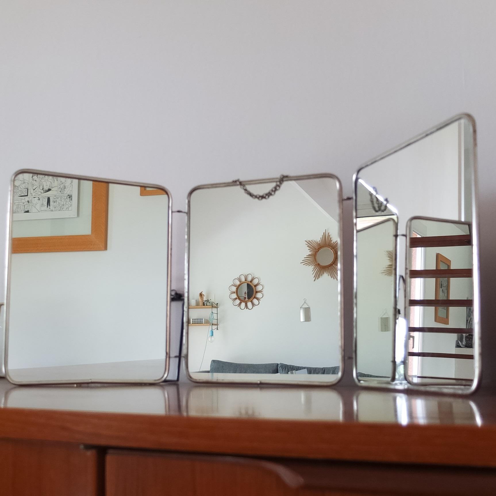 miroir de barbier triptyque ann es 50 vintage magic. Black Bedroom Furniture Sets. Home Design Ideas