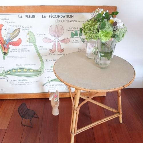 Table basse ronde en rotin, années 50-60