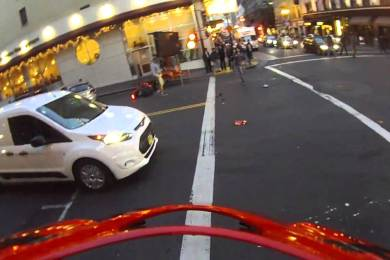Motorcyclist Lands On His Feet After Being Smashed Into By A Red Light Runner