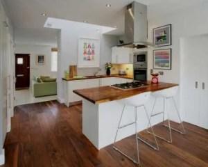 Decoración de cocinas con piso de madera