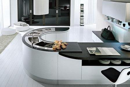 Remodelação de cozinha moderna com formato redondo.
