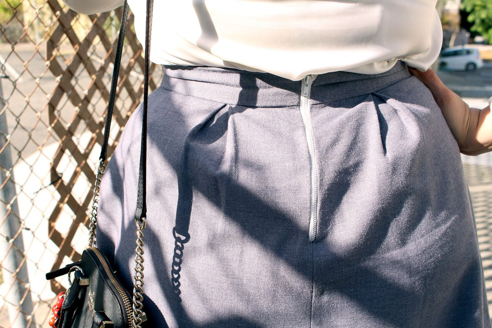 Exposed zipper detail, The Billie Collection by The Fold Line made in grey wool | Vintage on Tap