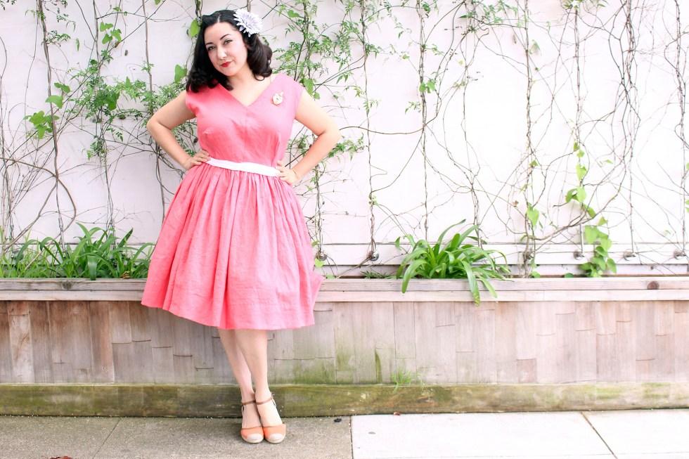Coral vintage dress, Vogue V8789 | Vintage on Tap