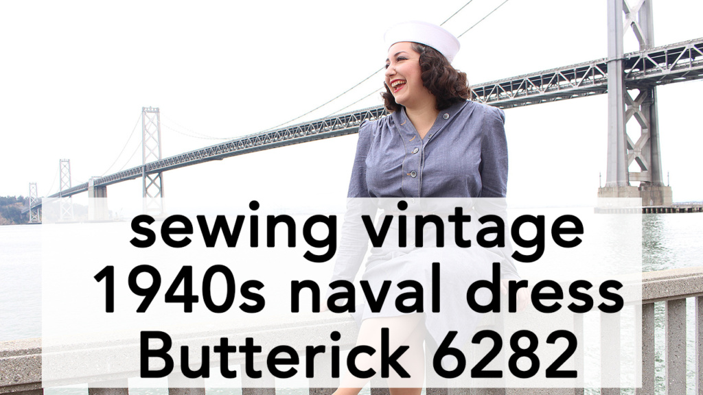 How to Sew Vintage 1940s Navy Dress, Butterick B6282 | Vintage on Tap
