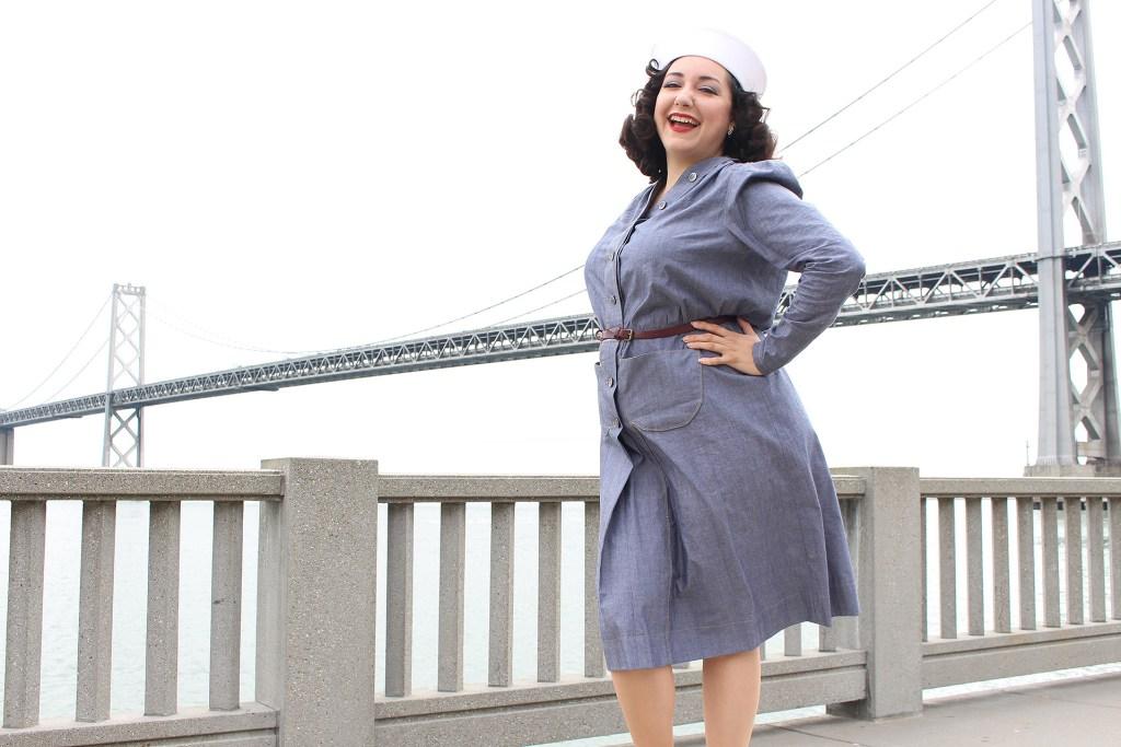 Vintage sewing, retro Butterick 6282 navy dress   Vintage on Tap