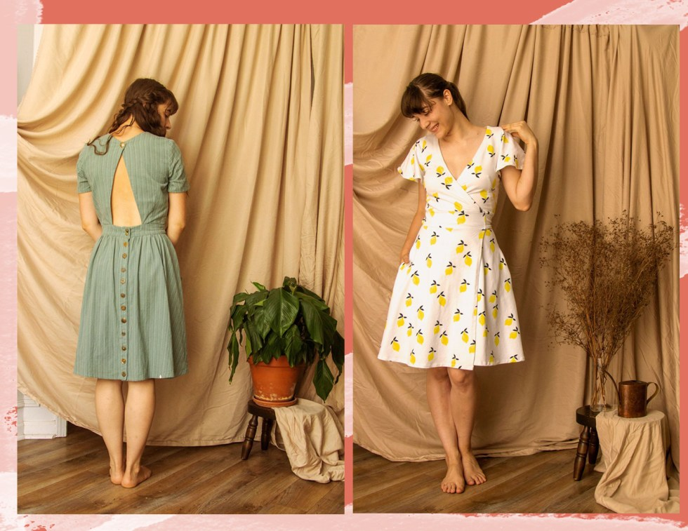 Two dresses side by side, one with an open back and buttons down the back of the skirt, the other as a wrap top, both pdf pattern designs by Untitled Thoughts