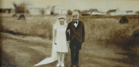"""Wedding Kids 15"""" x 30"""" Oil on Canvas Framed: Recovered and re-purposed barn-wood. Handcrafted. $350 + S&H (Originally $700) No paper or canvas print available. Details at http://goo.gl/VTGzGe."""