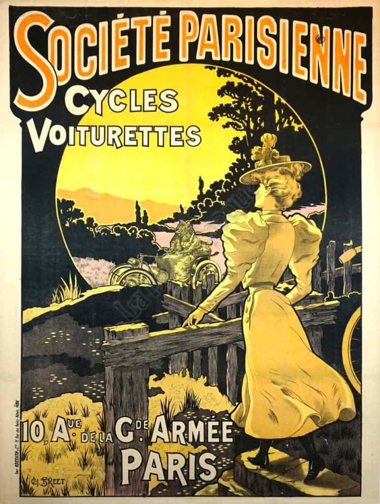 french vintage art nouveau cycle poster societe parisienne cycles voiturettes by ch street 1890 vintage posters by la belle epoque vintage