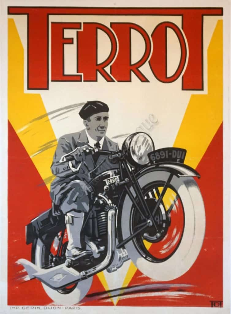 french art deco period vintage advertising poster for terrot cycles 1932 vintage posters by la belle epoque vintage posters in nyc