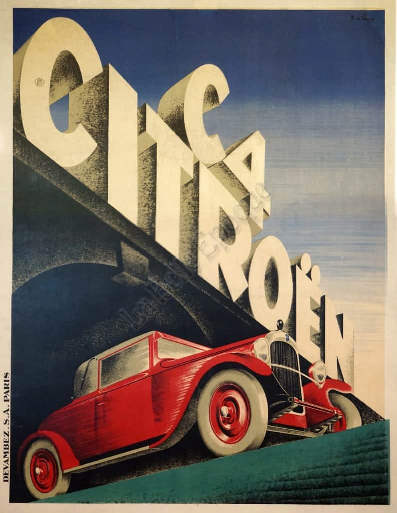french art deco vintage automobile poster for citroen c4 by roger de valerio 1928 vintage posters by la belle epoque vintage posters in nyc