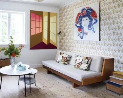 Remodelações de interiores de sala de estar com papel de parede.