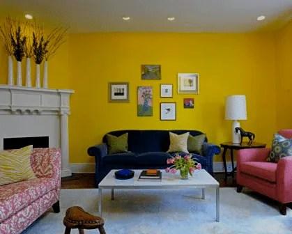Pintura de interiores paredes em tons de amarelo