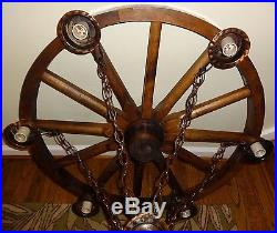 Vintage 30 Western Wagon Wheel Chandelier Hanging 6 Light Fixture Copper Rustic