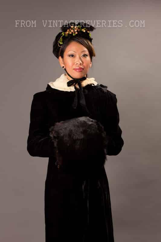 1800s velvet cloak, velvet bonnett, and rabbit fur hand muff