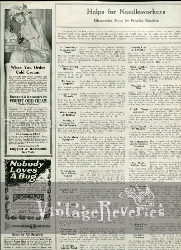 Helps for Needleworkers April 1917 issue of The Modern Priscilla