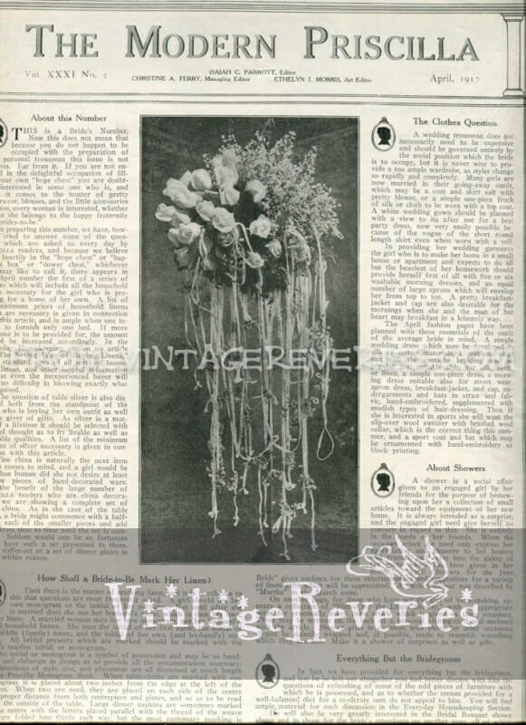1917 bridal bouquet - April 1917 issue of The Modern Priscilla