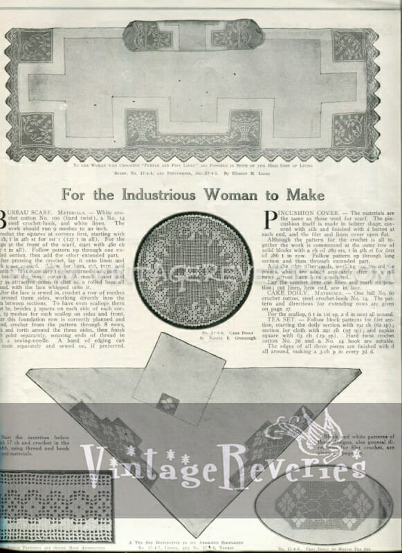 Bureau Scarf pattern - April 1917 issue of The Modern Priscilla
