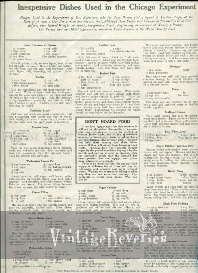 World War I recipes