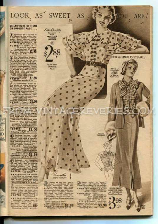 1930s polka dot dress advertisement