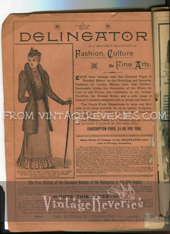 1892 The Delineator Fashion and Fine Arts Magazine