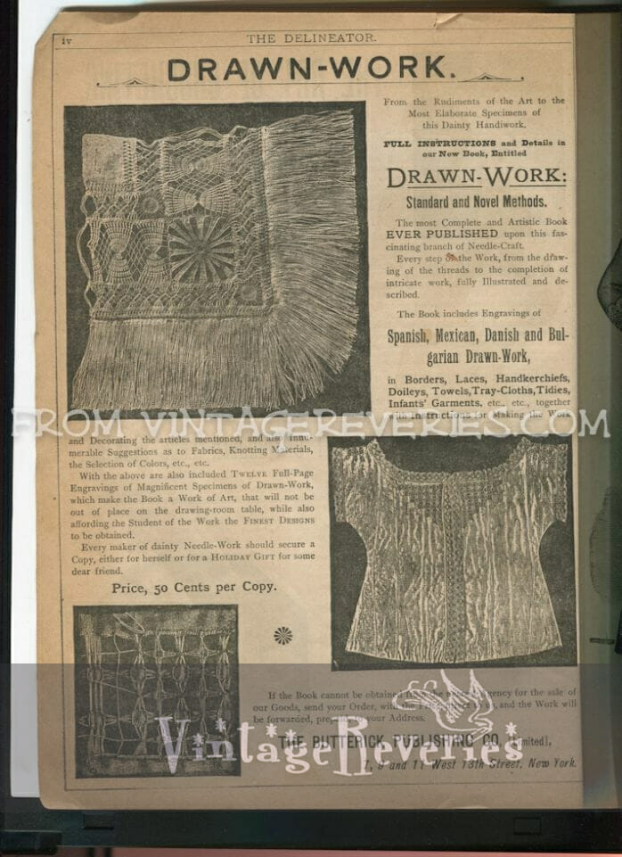 1890s examples of drawn work