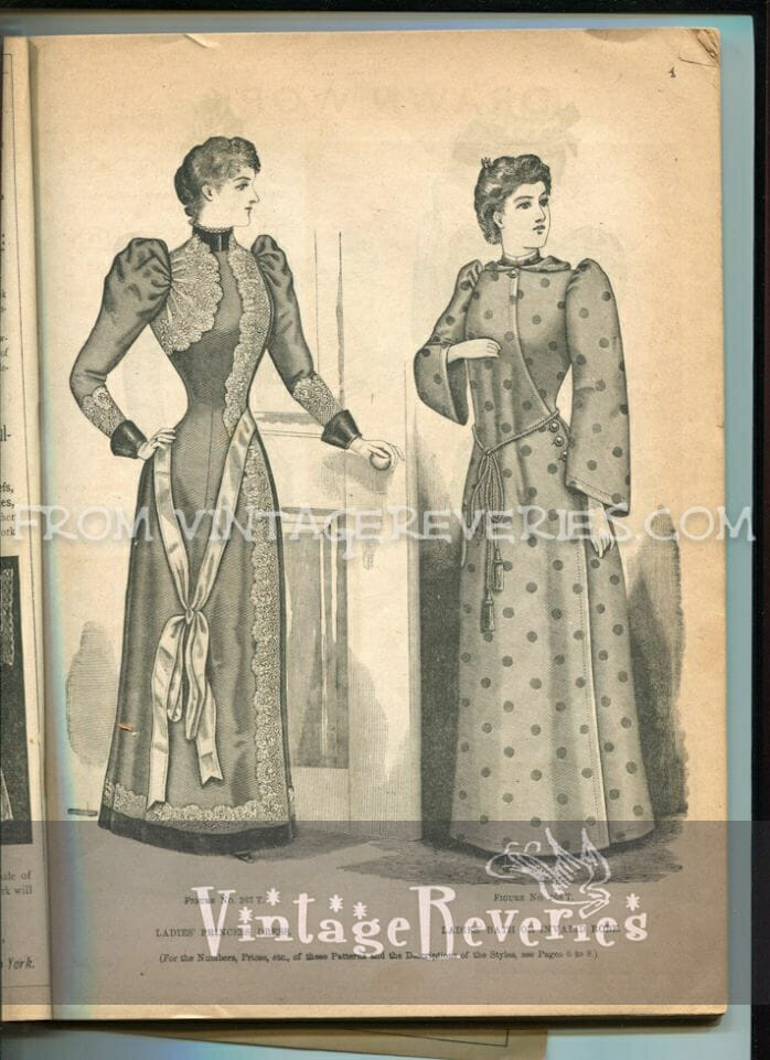 1890s bathrobe and princess dress fashion illustrations