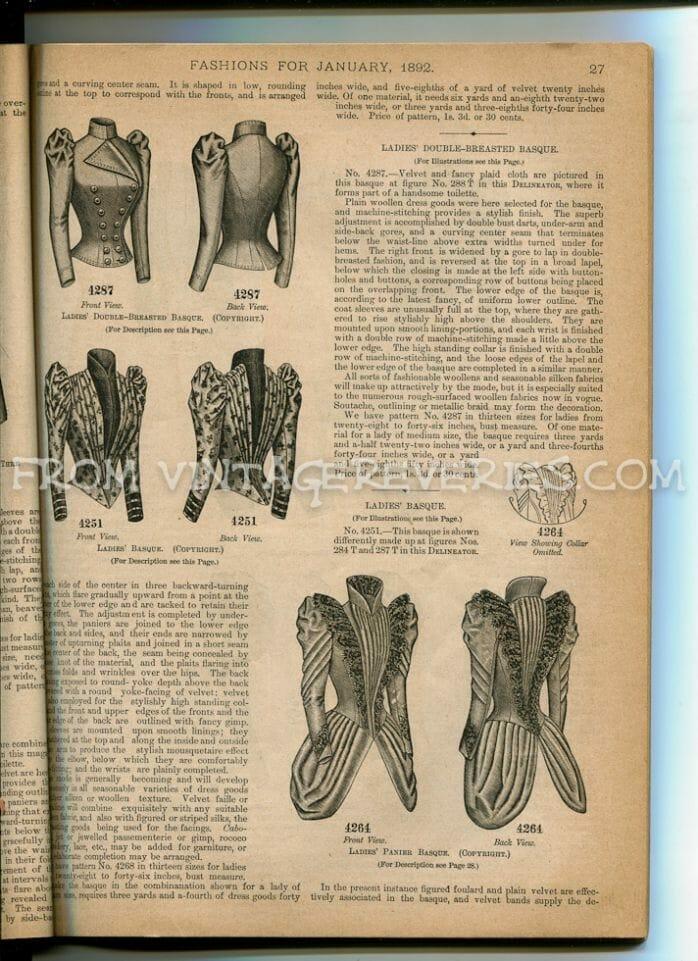 1892 Cloak, Coat, and Basque Fashions