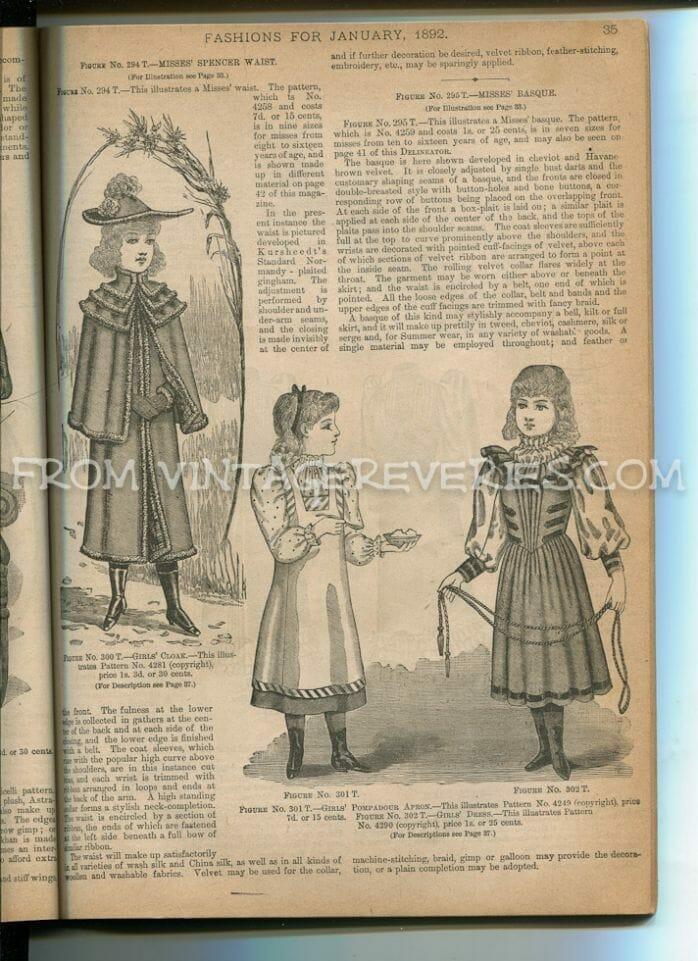 girl fashions winter 1890s
