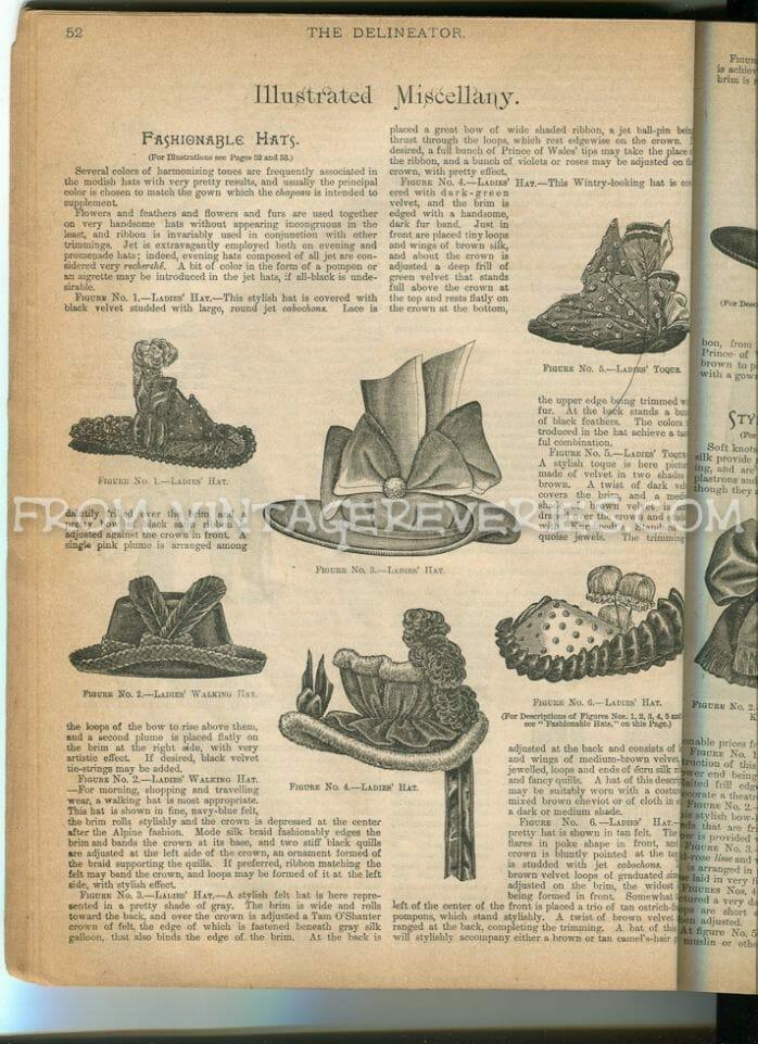 1890s hat fashion illustrations