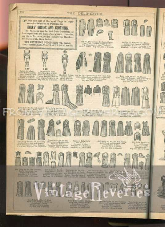Victorian doll clothing pattern advertisement