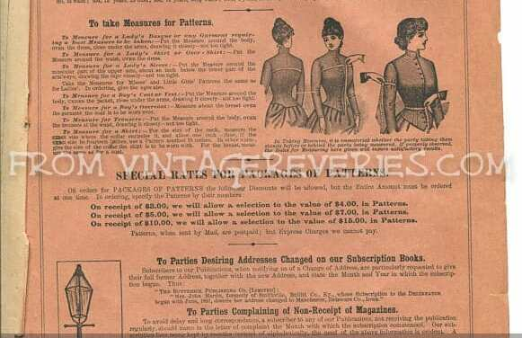 How to Measure for a Victorian Pattern – and The back pages of the 1892 Delineator Fashion Magazine