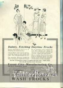 1920s dress illustration and advertisement
