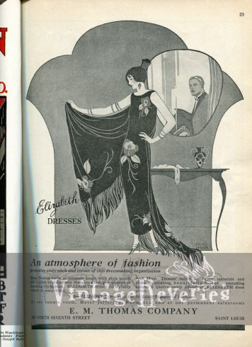 1920s art deco fashion advertisement from the Saint Louis Fashion Pageant 1924